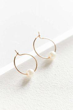 Pearl Stone Hoop Earring
