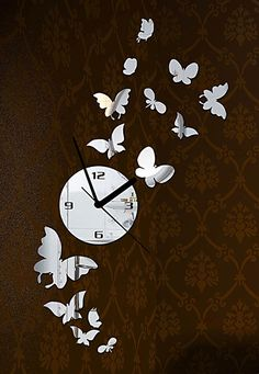 DIY Wall Clock Made of Acrylic Material, Butterfly, Looks Like Mirror, Modern Design