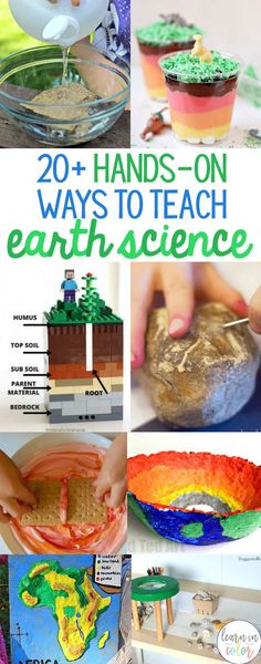 Hands-on Easy Ways to Teach Earth Science/Geology - - Bring science to life with these low-cost, easy experiments! Here are hands-on ways to teach earth science including landforms, rocks, minerals, and more! Earth Science Experiments, Earth Science Projects, Earth Science Lessons, Preschool Science Activities, Science For Kids, Science Notes, Science Worksheets, Science Puns, Science Fair