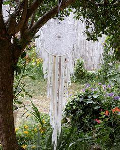 Dreamcatcher attrape rêve DIY facile napperon au crochet dentelle et franges jersey