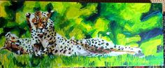 Colourful abstract cheetah limited edition impressionism fine art print green grass lying down two cheetahs cat feline animal golden Impressionism, Fine Art, Eagle Art, Surreal Art, Abstract Painting Acrylic, Painting, Art, Fine Art Prints, Abstract