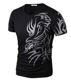 2015 New Tops Fashion Brand 10 style T Shirts for Men Novelty Dragon Printing Tattoo Male O-Neck T Shirts M-XXXL