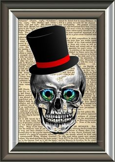 Victorian Wall Art book print cute skull with victorian hat book page print art print