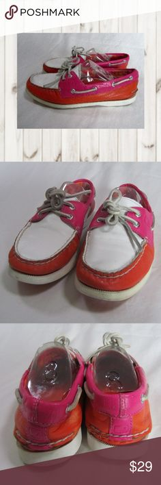 SPERRY Top-Sider Women's Leather Boat Shoes 2 eye SPERRY Top-Sider, Women's, Leather Orange Pink & White Boat Shoes, Size 7.5M. Nice clean pre-owned condition.  Smoke and pet free home  (S22-PM,EB) Sperry Shoes Flats & Loafers