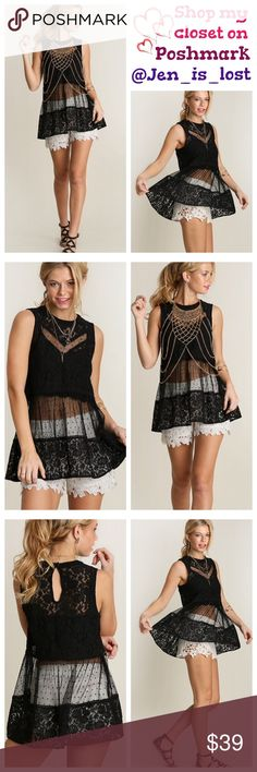 Black Lace Top  Small Black Lace Top  Lace top. Polyester and cotton blend. 🚫No Trades🚫 ✅Reasonable Offers Are Considered✅ Use the blue offer button. Tops