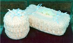 "Tissue Covers - This is so pretty, and unique! A fluffy, ""puffy"" stitch pattern creates a neat looking tissue box holder and toilet tissue cover! You will have fun knitting this fun patterns stitch as you watch the ""puffs"" develop right before your eyes! This is fairly easy to knit, using US # 9 and # 11 needles. Uses worsted weight cotton yarns. This is a very ""easy to remember"" 8 row repeat! Make some of these sets for gifts for your friends!  $2.75"