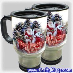 """Christmas Travel Mugs. Enter coupon code"""" Mug Sale"""" for additional discounts.  Www.craftymugs.com"""