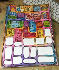 Art Journal Layout. Great for when I have journal block! Draw space for journaling then watercolor around. Go back later to fill in!