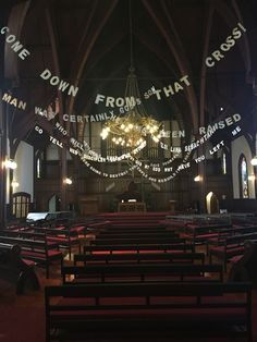 Good Friday and Easter words strung up in the sanctuary.