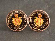 1864 Germany German States Saxony Sachsen coin cufflinks 2