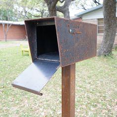 The Dexter Mailbox - Base Model Types Of Steel, Ipe Wood, Steel Mill, Address Numbers, Post Box, Red Flag, Metal Letters, Steel Plate
