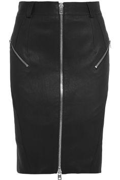 McQ Alexander McQueen|Zipped stretch-leather pencil skirt|NET-A-PORTER.COM
