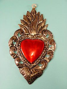 Flaming heart milagro.. to bring love