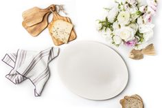 White Vintage Burlap Ceramic Oval Plate - Simple Life Istanbul