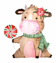 New Year Illustration, Cute Animal Illustration, Christmas Illustration, Watercolor Illustration, Christmas Drawing, Christmas Art, Outdoor Christmas, Christmas Gifts, Christmas Decorations