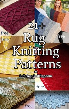 Knitting Patterns for Rugs and Mats. Most patterns are free. Want a fast, easy project that makes a great gift and great stashbuster? Take a look at these rugs and mats that you can customize for any home decor and any room in the house including kitchen, bath, living room, entry, and more. tba quick project stashbuster
