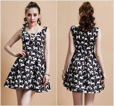 2014 nouveau printemps et d'été femmes cat imprimé robe sans manches dans Robes de Accessoires et vêtements pour femmes sur AliExpress.com | Alibaba Group