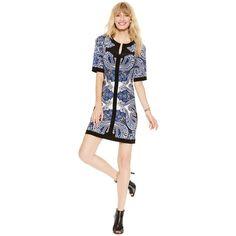 Inc International Concepts Petite Short-Sleeve Printed Sheath Dress ($64) ❤ liked on Polyvore