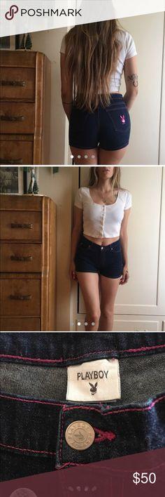 c23866e8db American vintage playboy denim shorts 🐰 what s good Playboy  🐰 Rare  vintage playboy high waisted