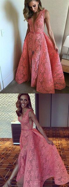 Mermaid Deep V-Neck Split Detachable Watermelon Lace Prom Dress