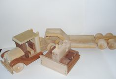 Natural Wood Toy  Semi Truck Trailer  Dozer by SandJPaperandWood, $135.00