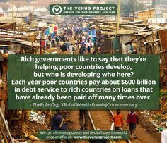 """It's easy for a country to improve its image by highlighting and glorifying small 'aid' donations to third world countries, but it's even easier to hide and ignore just how heavily indebted those poor countries become in the process. Debt has been used as a means to rule over others for a very long time, but for the first time in history, we can finally abolish it altogether. We explore how, in our latest documentary """"The Choice Is Ours"""": https://www.youtube.com/watch?v=Yb5ivvcTvRQ"""