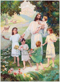 Jesus in Heaven With Children Jesus Christ Images, Jesus Art, God Jesus, Church Pictures, Jesus Pictures, Jesus Pics, Jesus Is Risen, Jesus Loves Me, Sunday School Songs