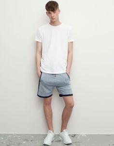 Pull&Bear - man - shorts - striped bermuda jogging shorts - blue - 09694500-I2015