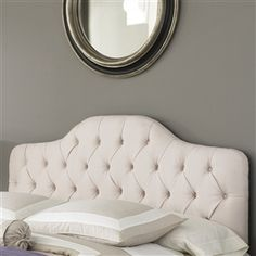 CARB Compliant! Eco! Full / Queen size Ivory Color Button-Tufted Upholstered Headboard soft, sweeping curves with straight lines to create an enduring transitional style. The button-tufted tailoring, so common to French decor and the simple, sophisticated fabric, work together to marry traditional and contemporary designs. CPSIA or CPSC Compliant: Yes; CARB Compliant: Yes; Finish: Ivory; ISTA 3A Certified: Yes; Non-Toxic: Yes; Adjustable Height: Yes.