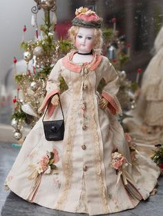 Very Lovely Antique French Small Tiny Fashion doll by Gaultier Petite Size 0, c.1870, beautiful dress!
