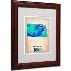 Trademark Fine Art North Dakota Watercolor Map Matted Framed Art by Naxart, Wood Frame, Size: 11 x 14, Multicolor
