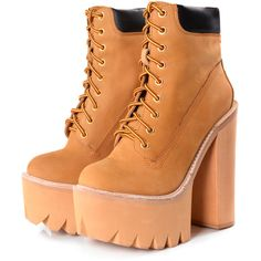 Jeffrey Campbell HBIC Sand Chunky Platform Boots ($265) ❤ liked on Polyvore featuring shoes, boots, orange, platform shoes, lace-up platform boots, mid heel boots, lace up boots and chunky boots
