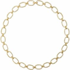 "By Irene Neuwirth Diamond Chain Link Necklace  18k yellow gold chain link set with 9.12 white pave diamonds.  18"" length"