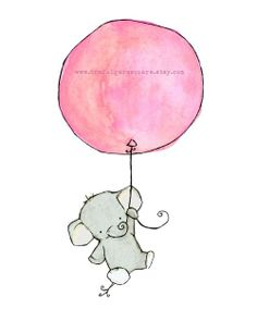 Nursery Art -- Flying High Girlie Pink Balloon 5x7 -- Art Print. $10.00, via…