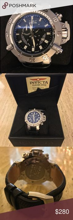 Invicta Men's Subaqua Noma III Watch Model 6683 Invicta Men's 6683 Subaqua Collection Noma III Chronograph Stainless Steel Watch  Swiss quartz movement. Stainless steel case & unidirectional bezel. Genuine black leather straps with stainless steel inserts. Flame-fusion crystal. 60 sec, 30 min & day of the week sub-dials; date function. Luminous. Water-resistant to 1,640 ft (500 M). Excellent used condition with some discoloration to inside of band due to normal wear. Box and warranty…