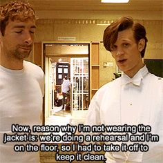 (gif set) STOP WHATEVER YOU ARE DOING AND CLICK THROUGH. CLICK. THROUGH. <--- I love his face at the end. :D Tardis, Crossover, Doctor Who Tumblr, Interview, Don't Blink, Eleventh Doctor, Torchwood, Matt Smith, Geek Out