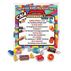 """Our fun CNA """"Emergency"""" Treat Kit comes with a handful of candy favorites that will provided a lift to your nursing assistants during their busy shift or break. CNA Emergency Treat Packs feature a full color explanation greeting card. Nurses Week Quotes, Nurses Week Gifts, Staff Gifts, Nurse Quotes, Nurses Week Ideas, Teacher Gifts, Nursing Survival Kit, Survival Kit Gifts, Employee Appreciation Gifts"""