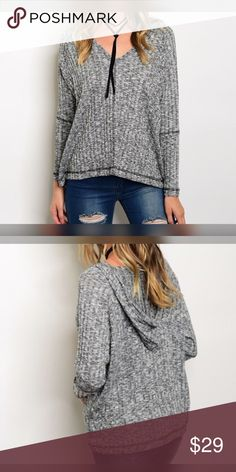Adorable and comfy- v neck marled hoodie! Loose fit charcoal gray long sleeve ribbed marled top with v neck and hoodie- so cute! Tops