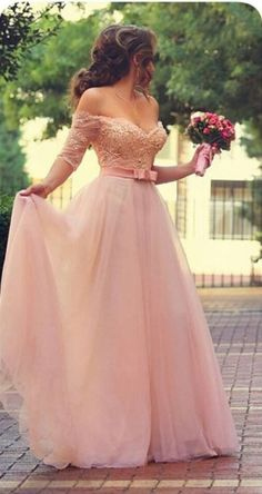 A line Sexy Off Shoulder Half Sleeves Blush Lace Prom Dress