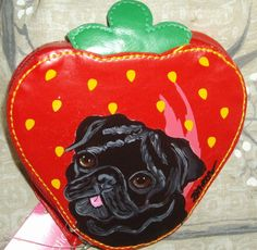 Black Pug Dog Painted Strawberry Coin Purse by daniellesoriginals, $20.00
