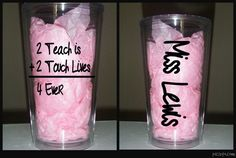 Teacher Gift - 2 Teach is 2 Touch Lives 4 Ever - Christmas Gift for Teacher - 16 oz Double Wall Acrylic Tumbler - Teacher Appreciation Gifts, Teacher Gifts, Thanks Teacher, Vinyl Ornaments, Teacher Christmas Gifts, Teachers' Day, School Gifts, Holidays And Events, Homemade Gifts