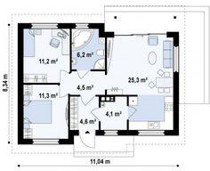 Планировка первого этажа  «Z262. Простой, аккуратный и бюджетный в строительстве дом.»