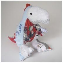 Roar! A Terrific T-Rex Keepsake made entirely from Harrision's first baby clothes. The patchwork effect allows lots of memories to be loved and admired everyday xx