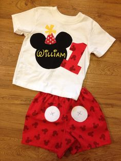 Mickey Mouse birthday outfit by PeacebyPiece01 on Etsy.  $45.00