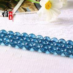 久雅 天然水晶 蓝色爆花水晶散珠 DIY手工饰品 爆花晶半成品 批发