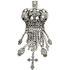 #Crystal #Crown #Skull #Cross #Brooch Was £78.00 Now £39.00 You Save: 50%