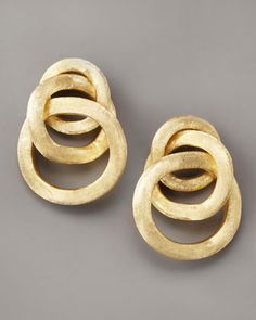 Textured Gold Link Earrings by Marco Bicego