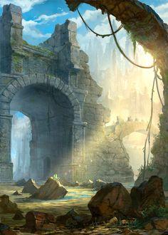 Digital Painting / Concept Art / Landscape / Ruins / SciFi / Science Fiction / Other Planet / Future / Surreal / Mystic / Fantasy //♥ Fantasy Art Landscapes, Fantasy Landscape, Fantasy Concept Art, Fantasy Artwork, Environment Concept Art, Environment Design, Fantasy Places, Fantasy World, Fantasy Books