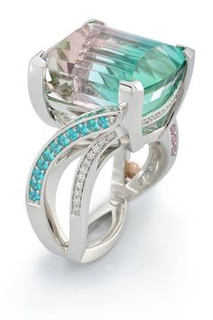 This stunning Bi-Color Tourmaline ring is the winner of a 2016 International Spectrum Award. Designed by Randy Coffin for the Somewhere In the Rainbow Collection #coffinandtrout #finejewelry #spectrumawards www.coffinandtrout.com
