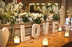 LOVE letters and flowers bridal table backdrop <3